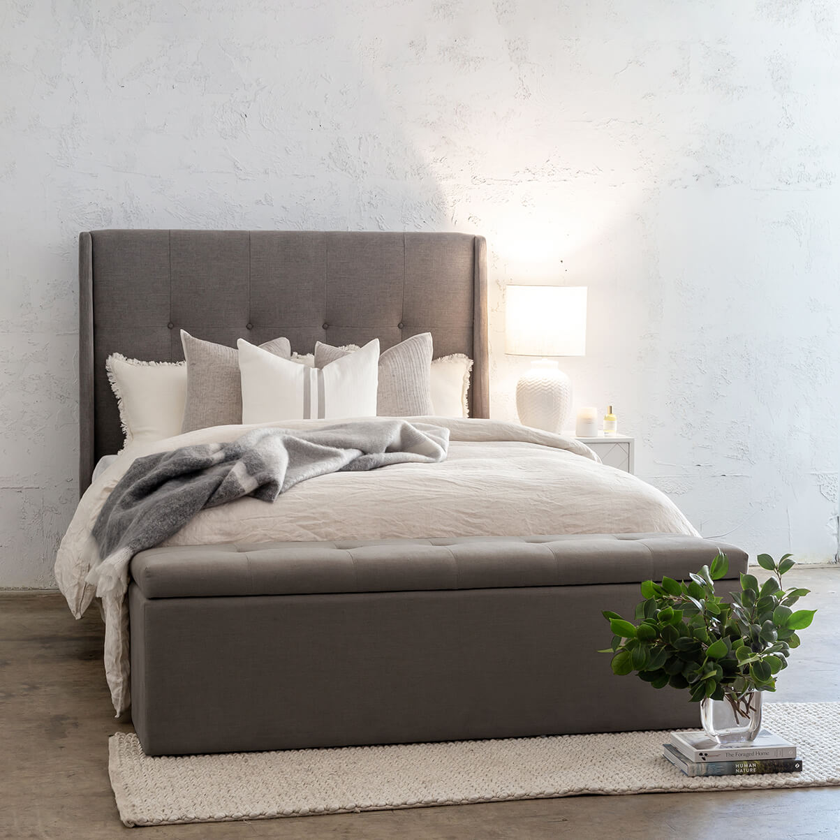 BAIRSTOW BUTTON BACK BED HEAD  |  SMOKE GREY LINEN  |  KING