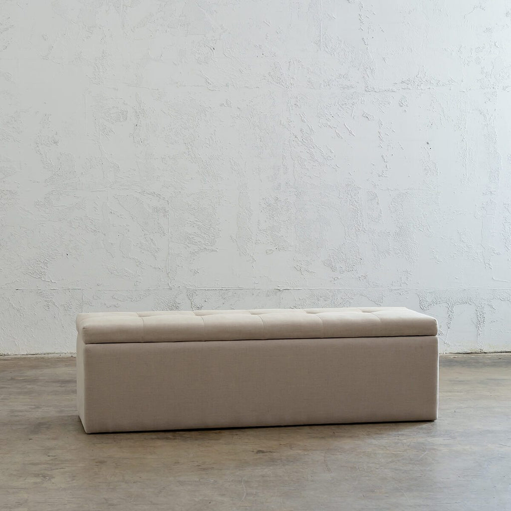 BAXTER BLANKET BOX  |  WHEAT NATURAL LINEN  |  MODERN BEDROOM STORAGE
