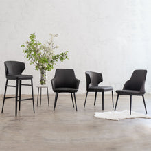 JAKOB DINING CHAIR  |  FAUX LEATHER  |  NOIR BLACK