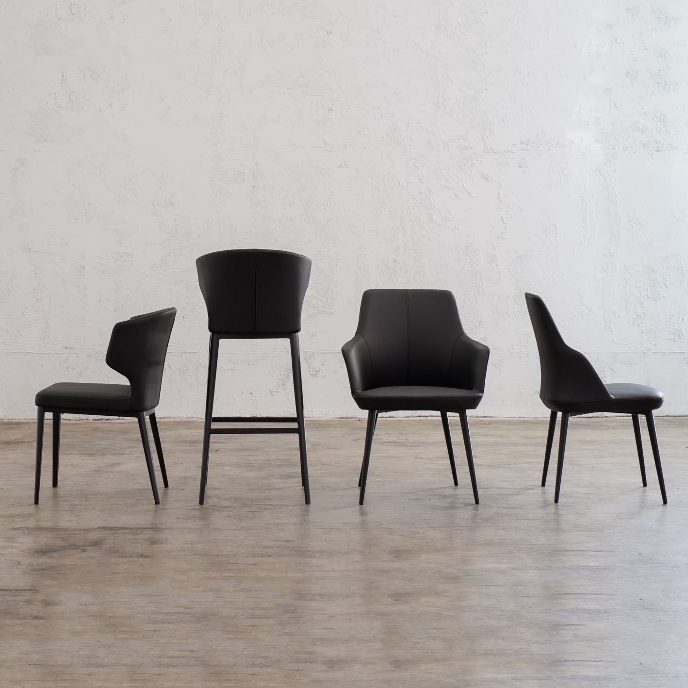 ANDERS DINING CHAIR  |  FAUX LEATHER  |  NOIR BLACK