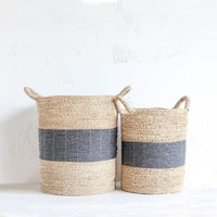 SEAGRASS BASKET  |  NATURAL WITH CENTRE BLACK STRIPE