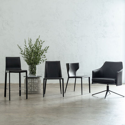 BOLINA MID CENTURY VEGAN LEATHER SWIVEL ARM CHAIR  |  NOIR BLACK  |  LEATHER DINING CHAIRS  |  BAR STOOLS