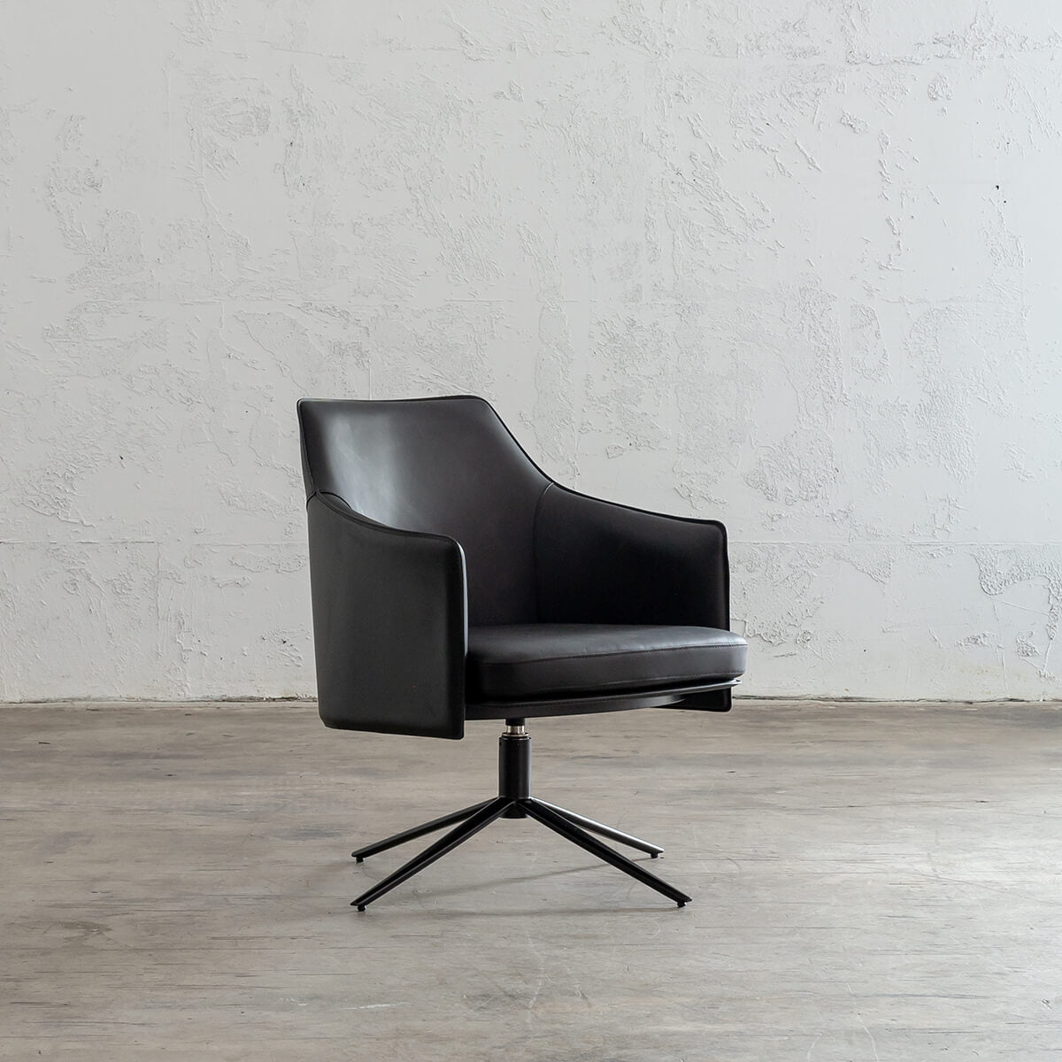 Picture of: Bolina Mid Century Vegan Leather Swivel Arm Chair Noir Black Leather Office Chair
