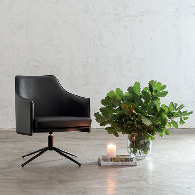 BOLINA MID CENTURY VEGAN LEATHER SWIVEL ARM CHAIR  |  NOIR BLACK  |  LEATHER OFFICE CHAIR