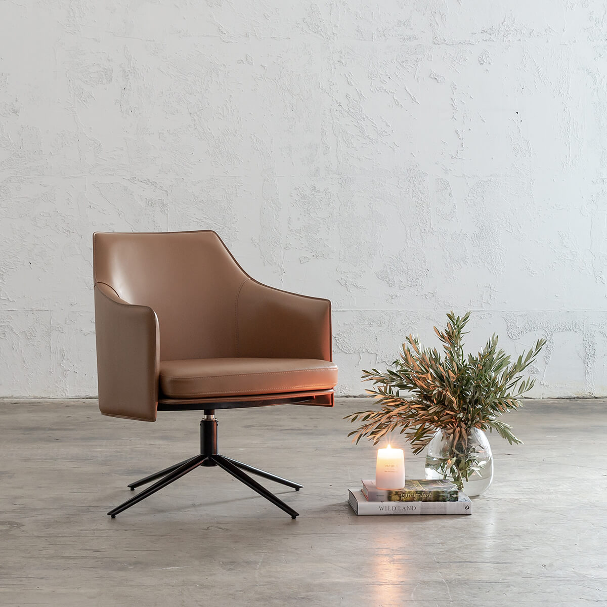 BOLINA MID CENTURY VEGAN LEATHER SWIVEL ARM CHAIR  |  SADDLE TAN  |  LEATHER OFFICE CHAIR