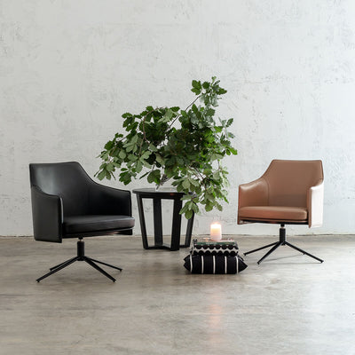 BOLINA MID CENTURY VEGAN LEATHER SWIVEL ARM CHAIR  |  NOIR BLACK  | SADDLE TAN  |  LEATHER OFFICE CHAIR