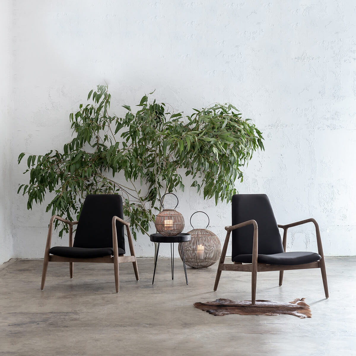 CALBY SCANDI TEAK ARM CHAIR PACKAGE  |  BLACK  |  2 x CALBY CHAIRS
