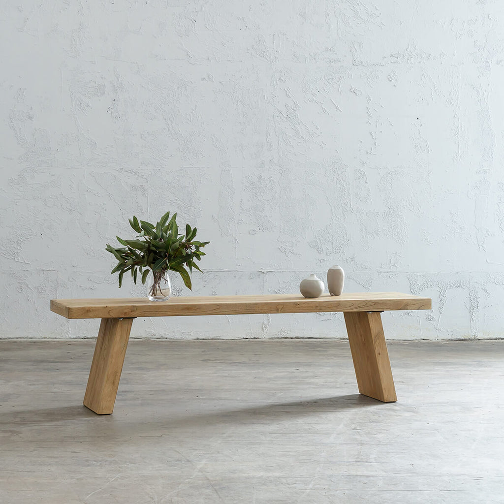 CAPRETTA TIMBER KITCHEN BENCH   |  WOODEN TOP HALL TABLE BENCH
