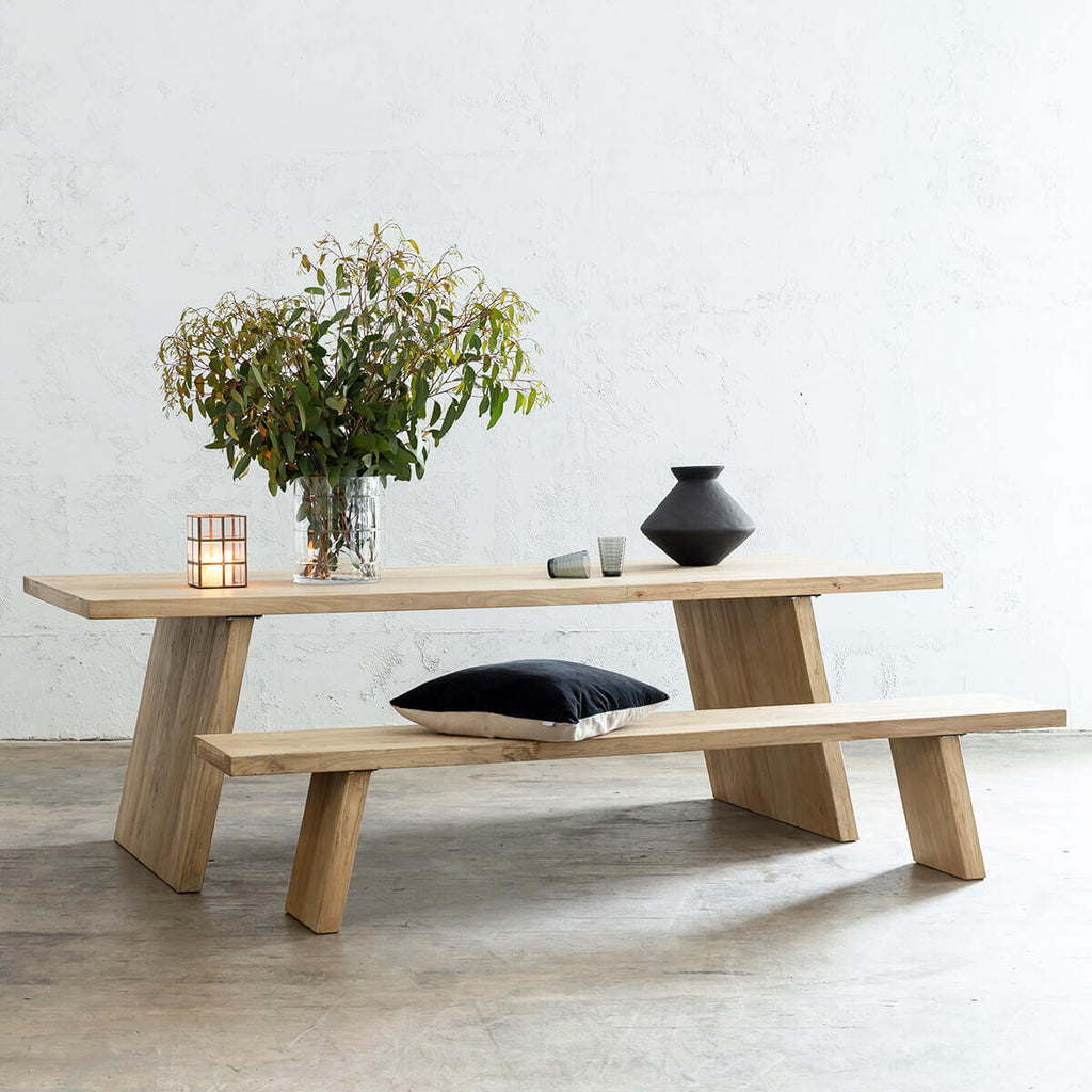 CAPRETTA ELM DINING TABLE   |  TIMBER DINING TABLE AND BENCH