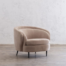 CARSON CURVE ARM CHAIR  |  DESERT SAND  |  LOUNGE FURNITURE ANGLE VIEW