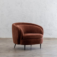 CARSON CURVE ARM CHAIR  |  TERRA RUST  |  LOUNGE FURNITURE ANGLE VIEW