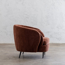 CARSON CURVE ARM CHAIR  |  TERRA RUST  |  LOUNGE FURNITURE SIDE VIEW