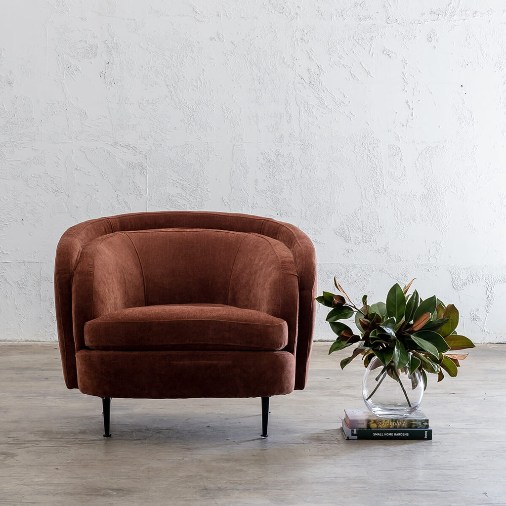 CARSON CURVE ARM CHAIR  |  TERRA RUST  |  LOUNGE FURNITURE