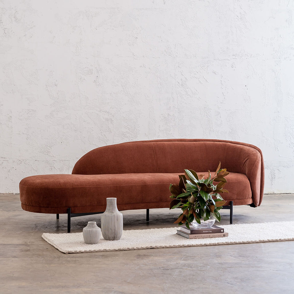 CARSON CURVE DAYBED SOFA  |  TERRA RUST