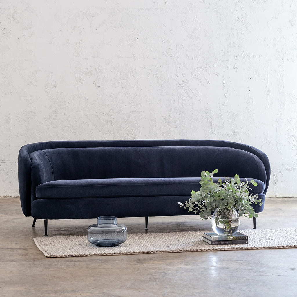 CARSON CURVE 3 SEATER SOFA  |  MIDNIGHT INK  |  LOUNGE FURNITURE
