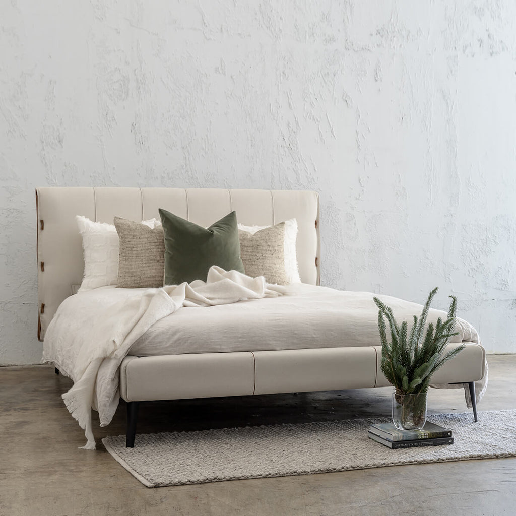 CENOVA BED FRAME  |  ALMOND MILK + SADDLE TAN LEATHER  |  QUEEN SIZE