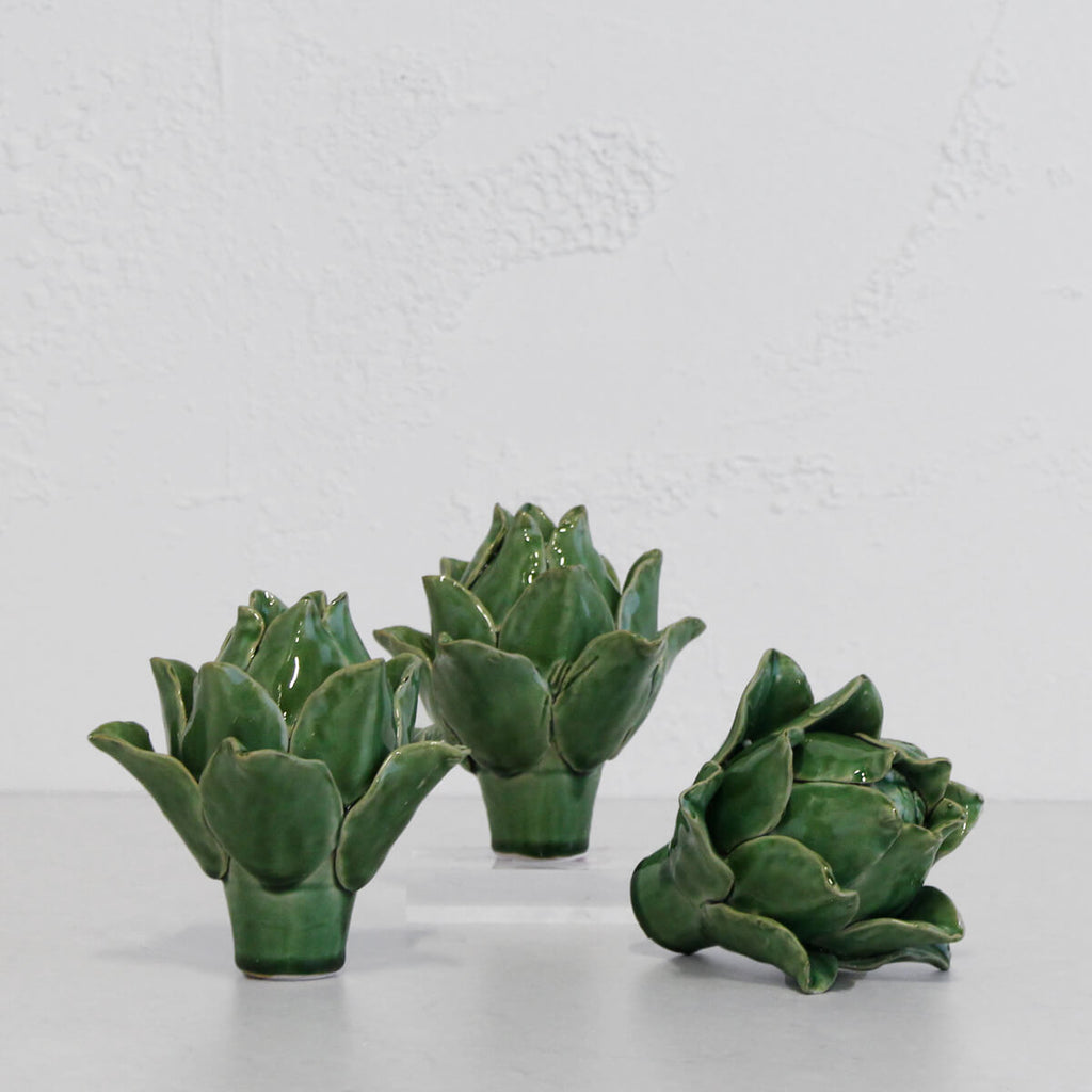 CERAMIC ARTICHOKE  |  GREEN  |   SET OF 3