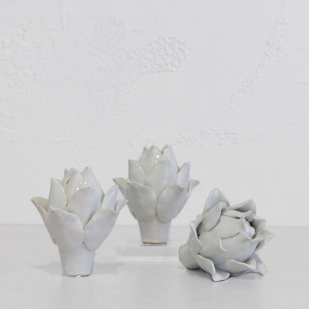 WHITE CERAMIC ARTICHOKE | DECORATIVE HOMEWARES | HOME DECOR