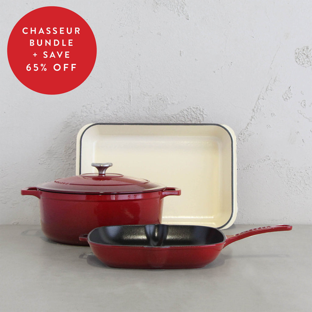 CHASSEUR FRENCH CAST IRON COOKWARE TRIO   |  BORDEAUX RED