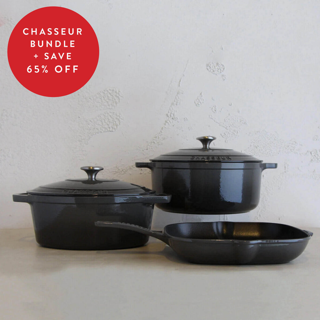 CHASSEUR FRENCH TRIO  |  CAVIAR GREY  |  FRENCH CAST IRON COOKWARE