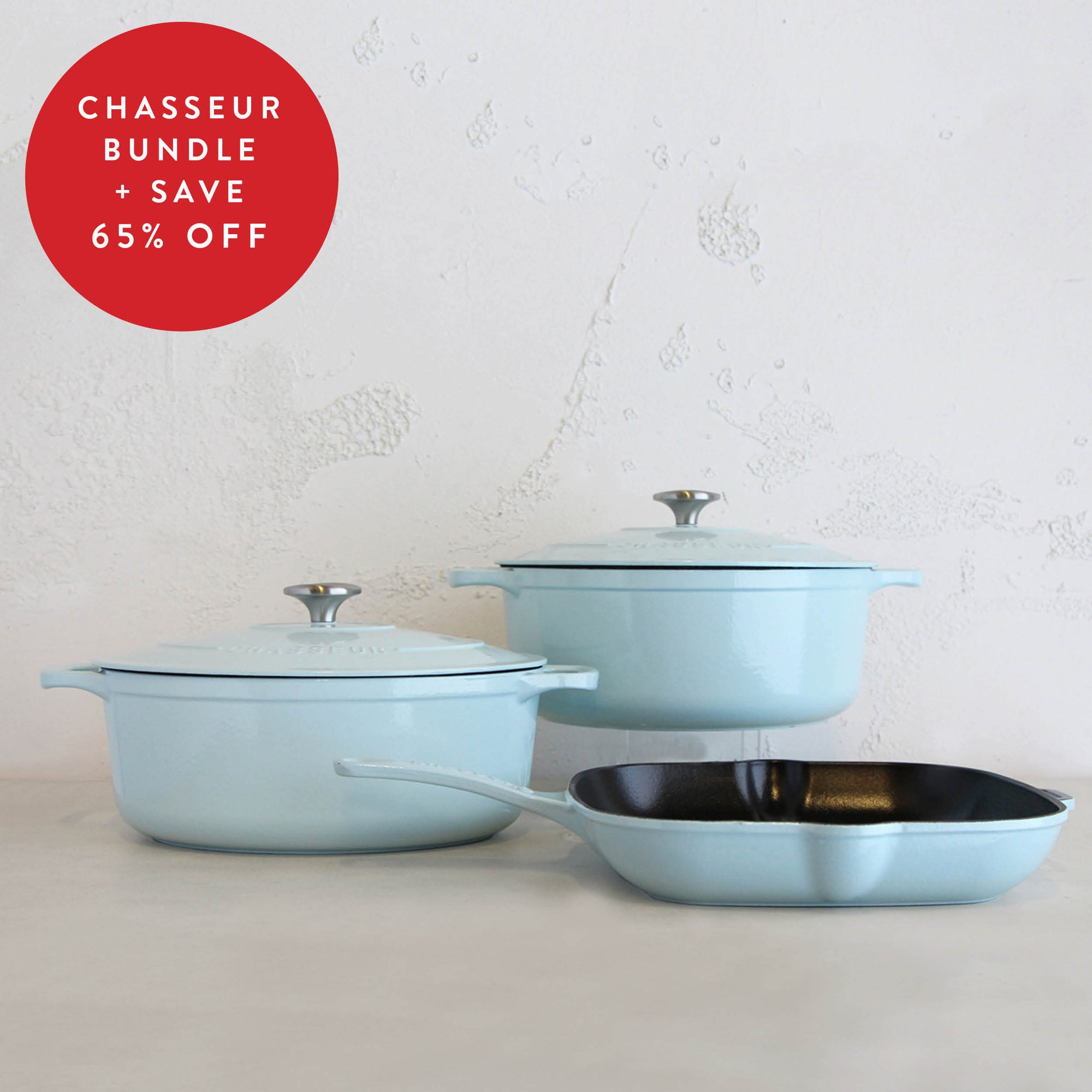CHASSEUR FRENCH CAST IRON COOKWARE TRIO   |  DUCK EGG BLUE