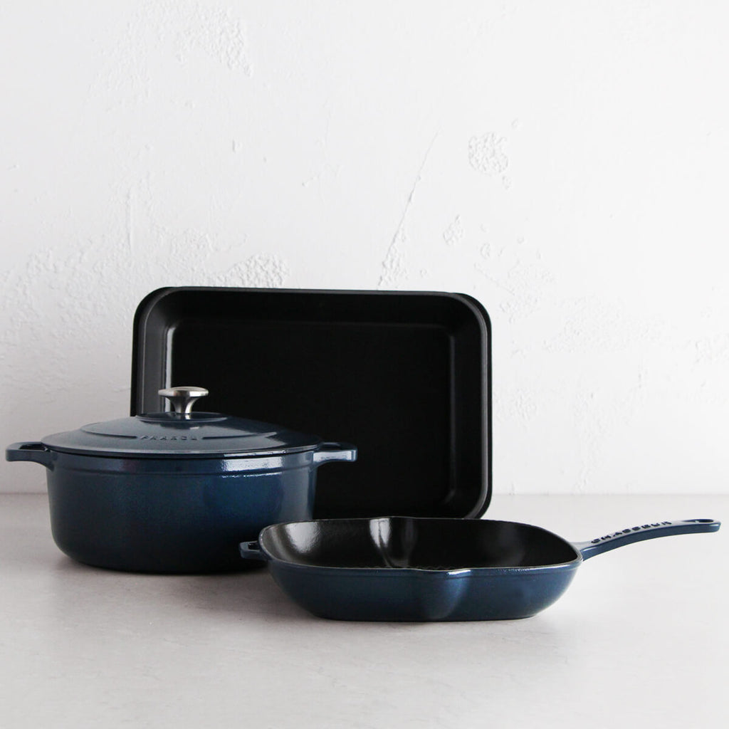 CHASSEUR FRENCH TRIO  |  LICORICE BLUE  |  CAST IRON FRENCH COOKWARE