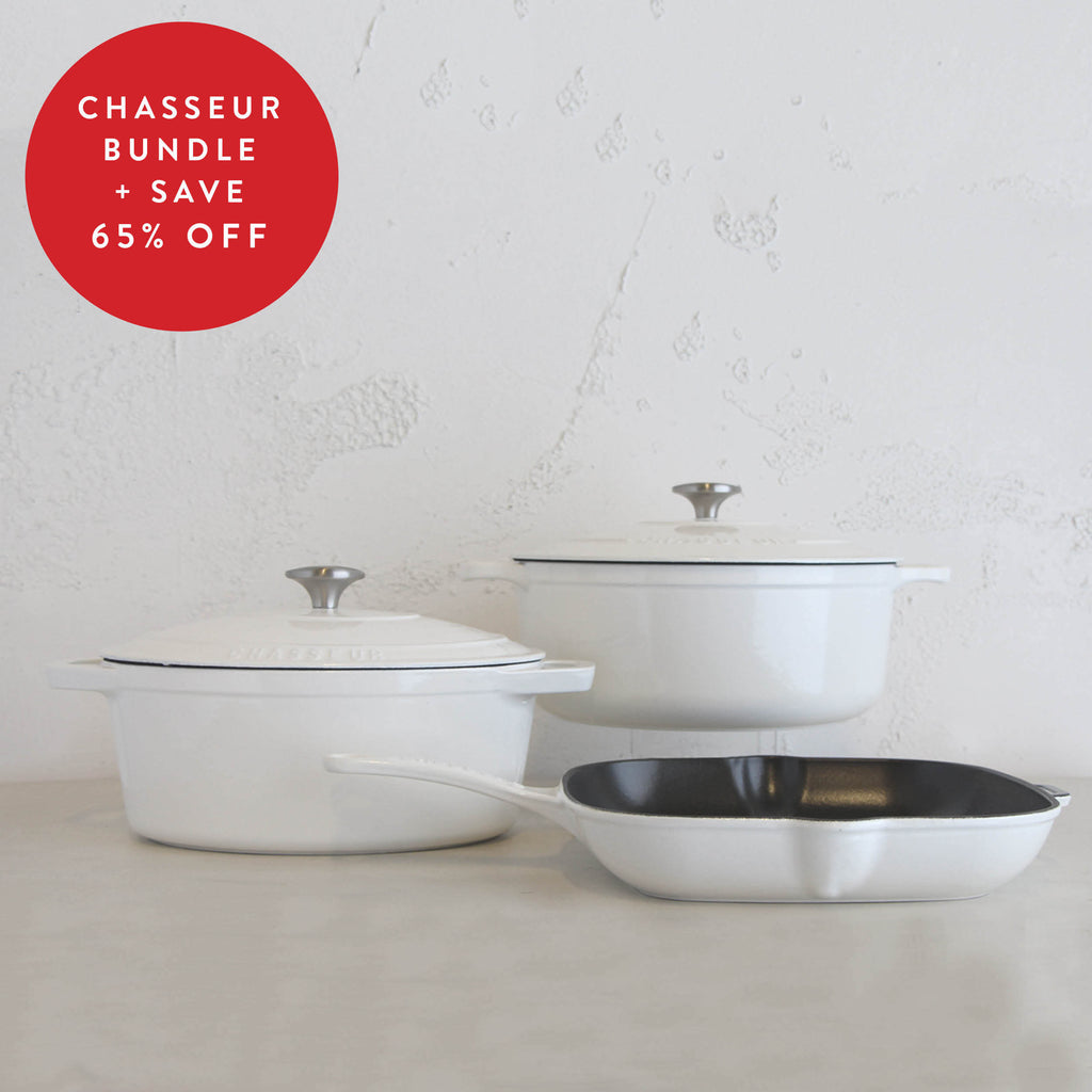 CHASSEUR FRENCH TRIO  |  WHITE  |  FRENCH CAST IRON COOKWARE
