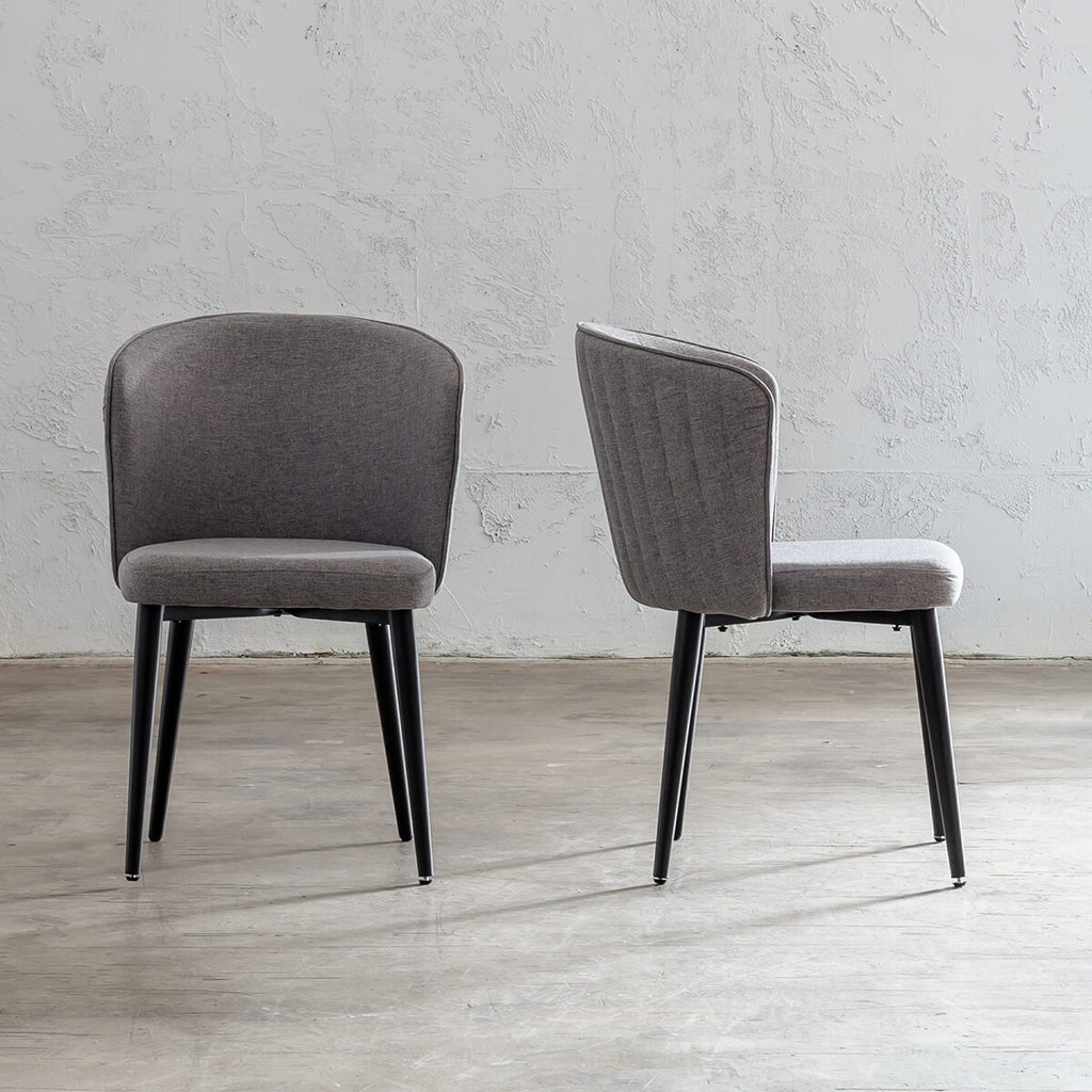 CLAUDE FABRIC DINING CHAIR  |  SILVER GREY FABRIC DINING CHAIR