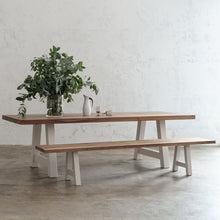 CLUB GRENADA TEAK DINING TABLE   |  RECYCLED TEAK SLATTED OUTDOOR DINING TABLE WITH GRENADA BENCH