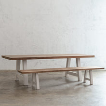 CLUB GRENADA TEAK DINING TABLE   |  RECYCLED TEAK SLATTED OUTDOOR DINING TABLE WITH SLATTED OUTDOOR BENCH