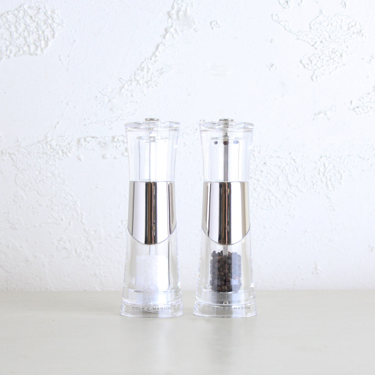 COLE & MASON  |  BOBBI SALT + PEPPER GRINDER SET  |  BRUSHED CHROME