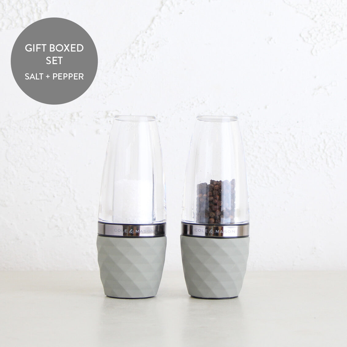 COLE & MASON  |  CITY SALT + PEPPER GRINDER GIFT SET  |  CONCRETE