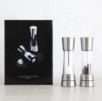 COLE & MASON  |  DERWENT SALT + PEPPER GIFT SET  |  SILVER