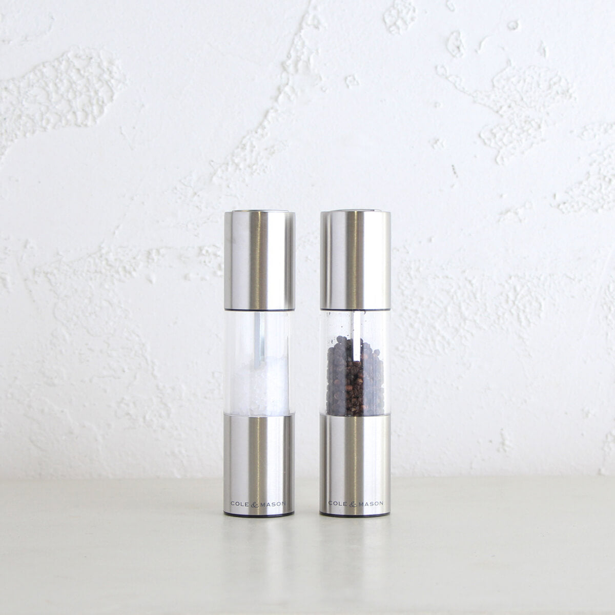 COLE & MASON  |  OSLO SALT + PEPPER GRINDER SET  |  STAINLESS STEEL