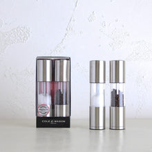 COLE & MASON  |  OSLO SALT + PEPPER GRINDER SET  |  STAINLESS STEEL WITH GIFT BOX