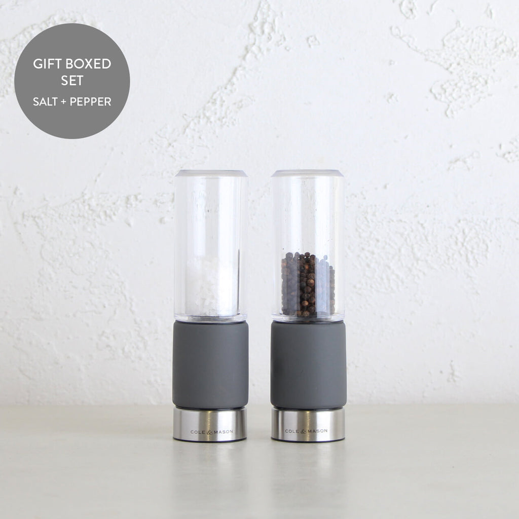 COLE + MASON  |  REGENT SALT + PEPPER GRINDER GIFT SET  |  CONCRETE