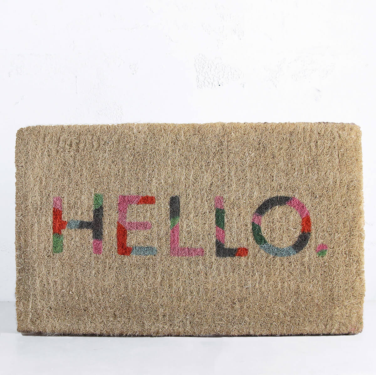 COLOURED HELLO DOOR MAT