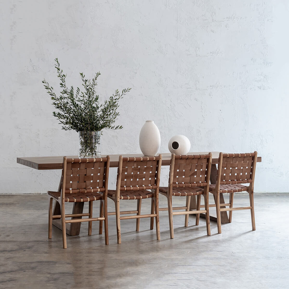 PRE ORDER | DALTON SCANDI LEG TEAK DINING TABLE 2.6M  + 4 x MALAND LEATHER DINING CHAIR PACKAGE
