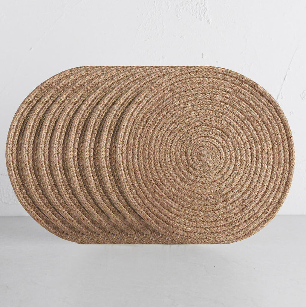 DEMI COTTON ROUND PLACEMAT  |  NATURAL  |  SET OF 8