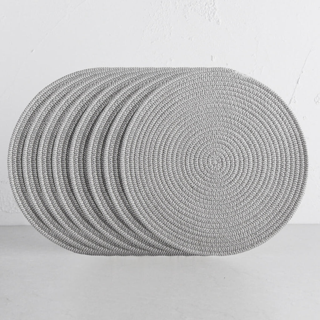 DEMI COTTON ROUND PLACEMAT  |  GREY + WHITE  |  SET OF 8
