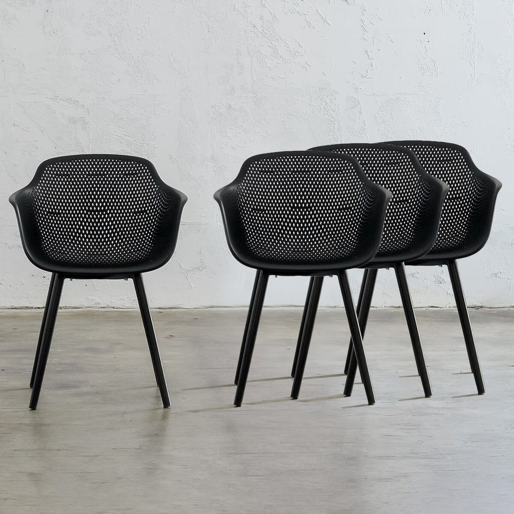 ETTA MESH WRAP INDOOR/OUTDOOR DINING CHAIR | ONYX BLACK - BUNDLE x 4