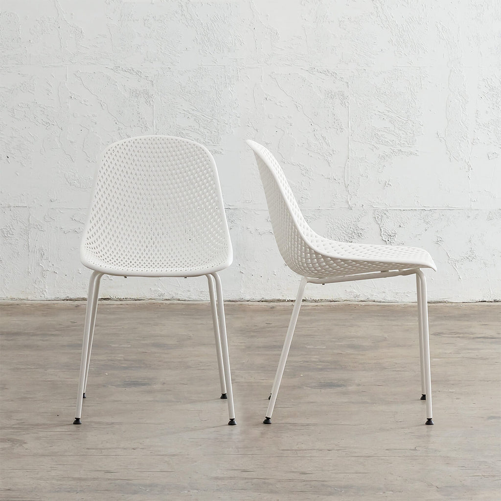 ETTA MESH INDOOR/OUTDOOR DINING CHAIR | GHOST WHITE