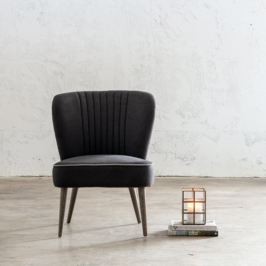 FAULKES SHELL BACK ARM CHAIR  |  CHARCOAL LINEN