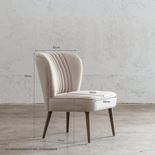 FAULKES SHELL BACK ARM CHAIR  |  NATURAL LINEN WITH MEASUREMENTS