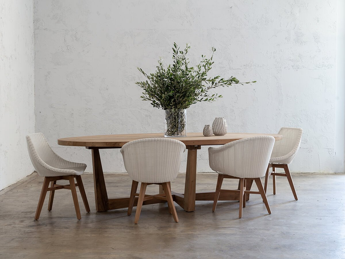 Florence Reclaimed Teak Timber Oval Dining Table Outdoor Dining Table