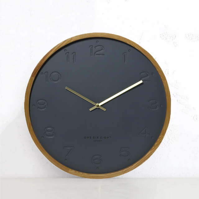 FREYA SILENT WALL CLOCK | CHARCOAL WOOD | 35CM DIAMETER