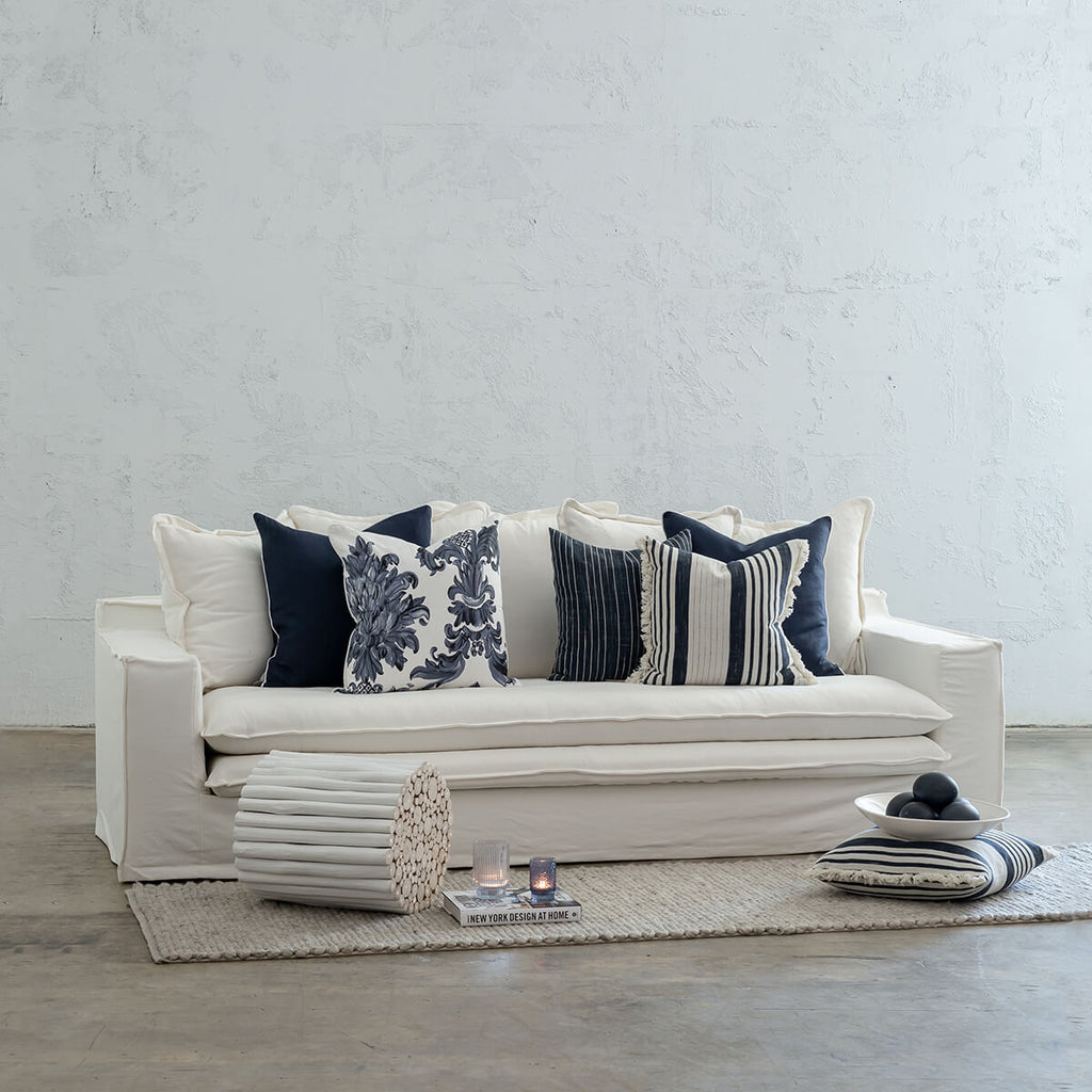 GREENPORT HAMPTONS SLIP COVER SOFA LOUNGE |  WHITE LINEN BEACH COASTAL LIVING