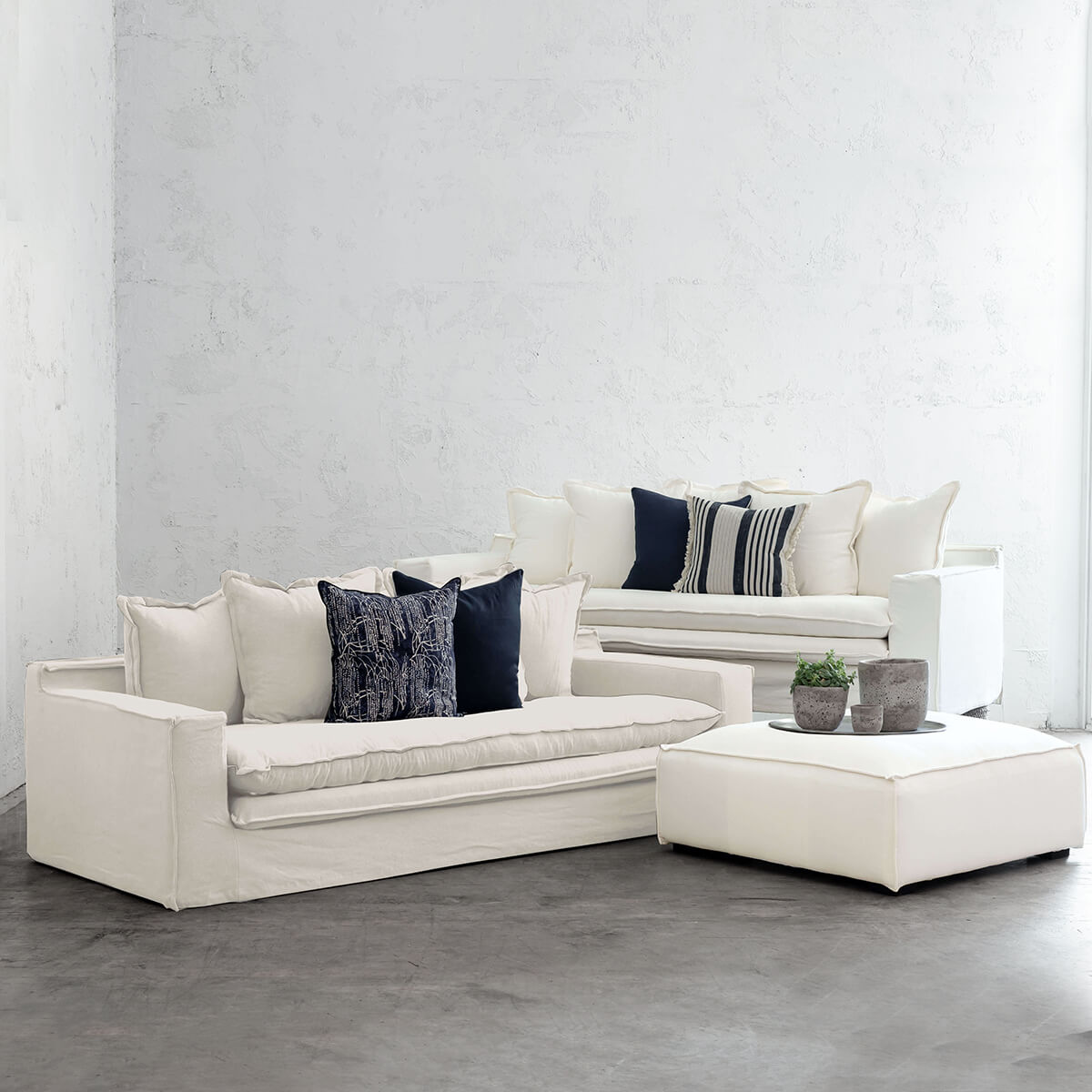GREENPORT HAMPTONS SLIP COVER 2 x SOFA + OTTOMAN PACKAGE  |  CASPER WHITE