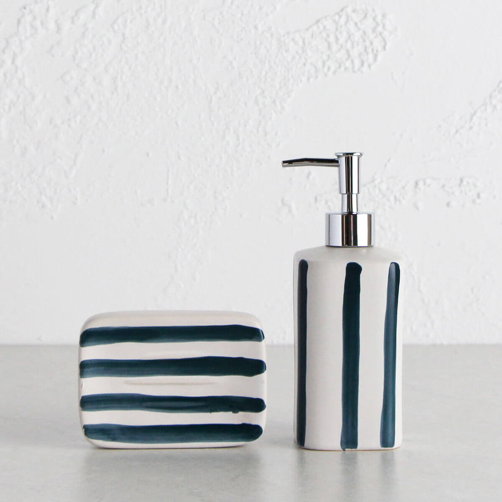 HASTINGS SOAP DISPENSER + SOAP DISH BUNDLE | WHITE + NAVY