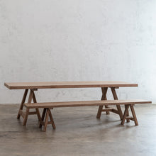 HESTON RECYCLED TEAK DINING TABLE   |  RECYCLED TEAK INDOOR COUNTRY DINING TABLE WITH HESTON TEAK BENCH